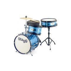 """Stagg Junior 12"""" 3-Piece Drum Set Including Hardware and Throne - Blue"""