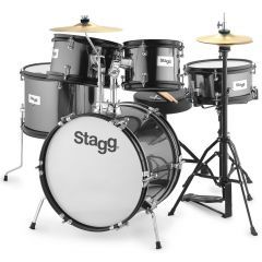 """Stagg Junior 16"""" 5-Piece Drum Set Including Hardware And Throne - Black"""