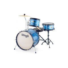 """Stagg Junior 16"""" 3-Piece Drum Set Including Hardware and Throne - Blue"""