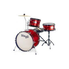 """Stagg Junior 16"""" 3-Piece Drum Set Including Hardware and Throne - Red"""