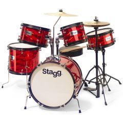 """Stagg Junior 16"""" 5-Piece Drum Set Including Hardware And Throne - Red"""