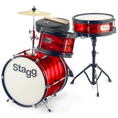 """Stagg Junior 12"""" 3-Piece Drum Set Including Hardware and Throne - Red"""