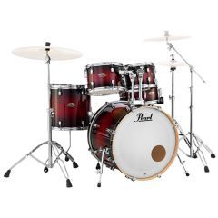 """Pearl Decade Maple 22"""" 5-Piece Fusion Drum Kit Including Snare & Hardware - Gloss Deep Red Burst - Main"""