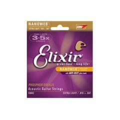 Elixir Nanoweb Phosphor Bronze Acoustic Strings 10-47