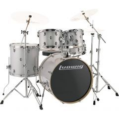 """Ludwig Evolution 22"""" 4-Piece Drum Kit With Hardware - Silver Sparkle"""