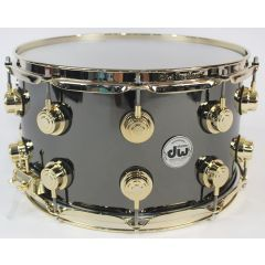 """DW Collector's Black Nickel Over Brass 14 x 8"""" Snare Drum - Gold Hardware"""