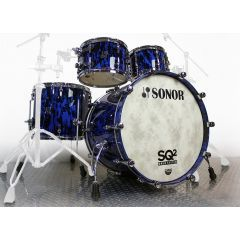 """Sonor SQ2 22"""" 4-Piece Shell Pack Beech With Birds Eye Maple Inner Ply - Blue Tribal  - Main"""