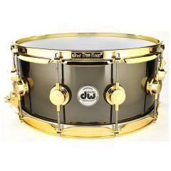 """DW Collectors Black Nickel Over Brass 14 x 6.5"""" Snare Drum - Gold Hardware  - Main"""
