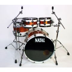 """Pre-Owned Natal Originals Maple 22"""" 4-Piece Drum Shell Pack - White With Orange Sparkle Stripe"""