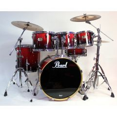 """Pre-Owned Pearl ELX 22"""" 6-Piece Drum kit Incl Hardware & Zildjian Cymbals - Red Burst Lacquer"""