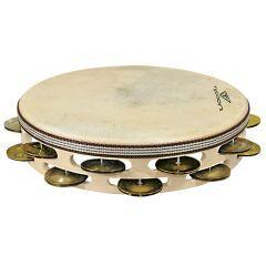 Tycoon Headed Wooden Tambourine - Double Row Dark Jingles